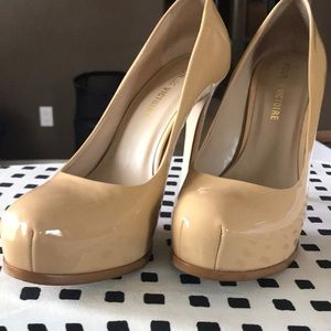 Camel color platform high heels